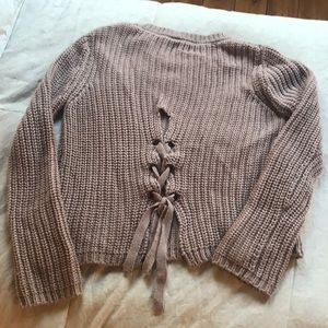 Chunky Knit Sweater with Tie-Up Back